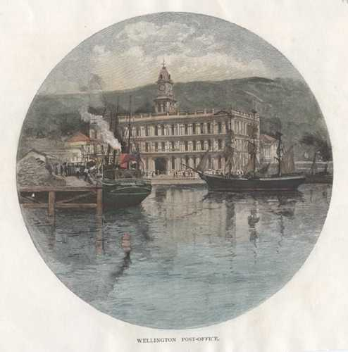New Zealand. Wellington Post-Office from the Harbour. Engraving c1888.