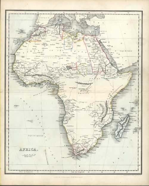 Africa Antique Map 1853 by Alex Findlay & W. Tegg