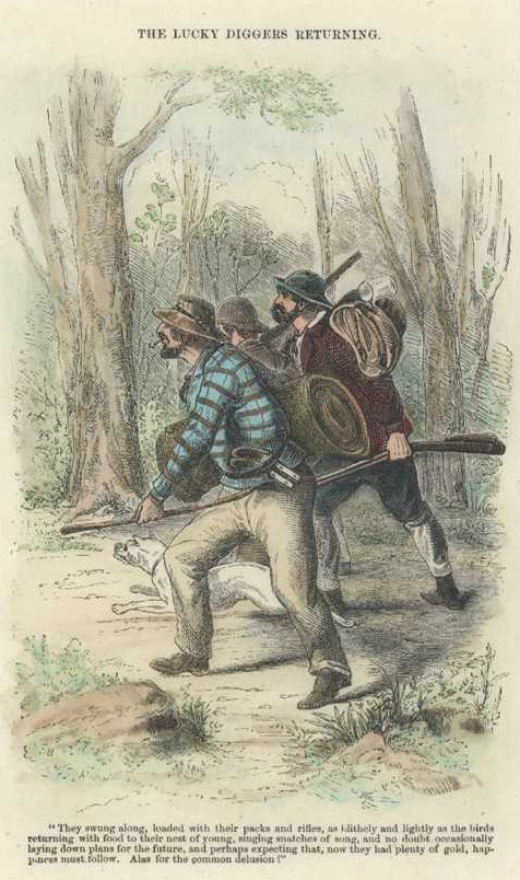 Gold. Lucky Diggers Returning. Sherer engraving c1853.