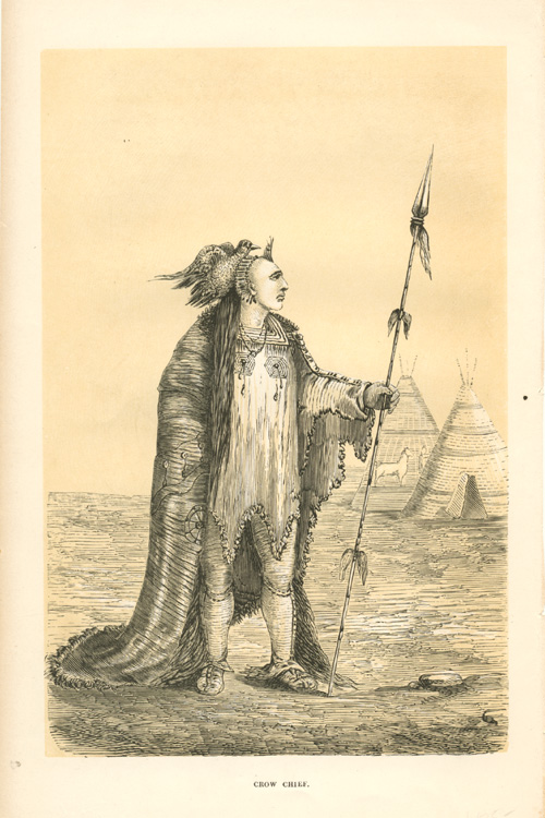 Crow Chief from Upper Missouri. American Indian engraving c1860.
