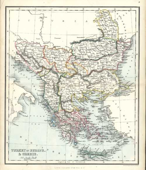 Turkey in Europe, & Greece antique map. Findlay c1853