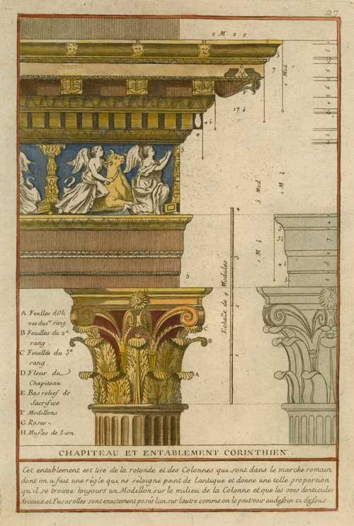 Architectural engraving of Corinthian Capital and Entablature. c1778