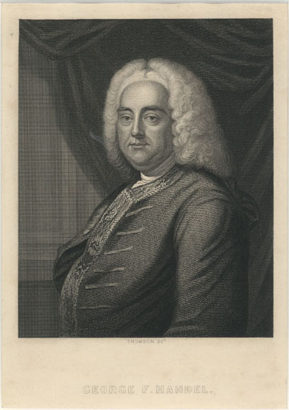 Music composer George F. Handel finely engraved portrait c1850.