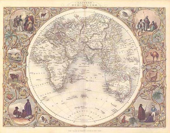 Tallis World Eastern Hemisphere very decorative map: one of pair from 1853