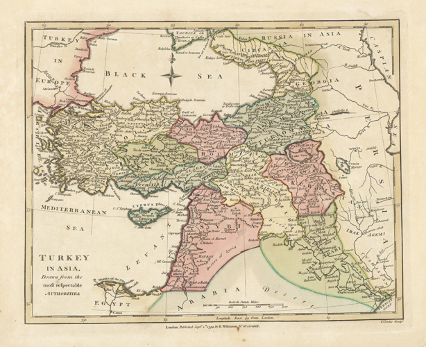 Turkey in Asia. Antique Map by Robert Wilkinson c1794