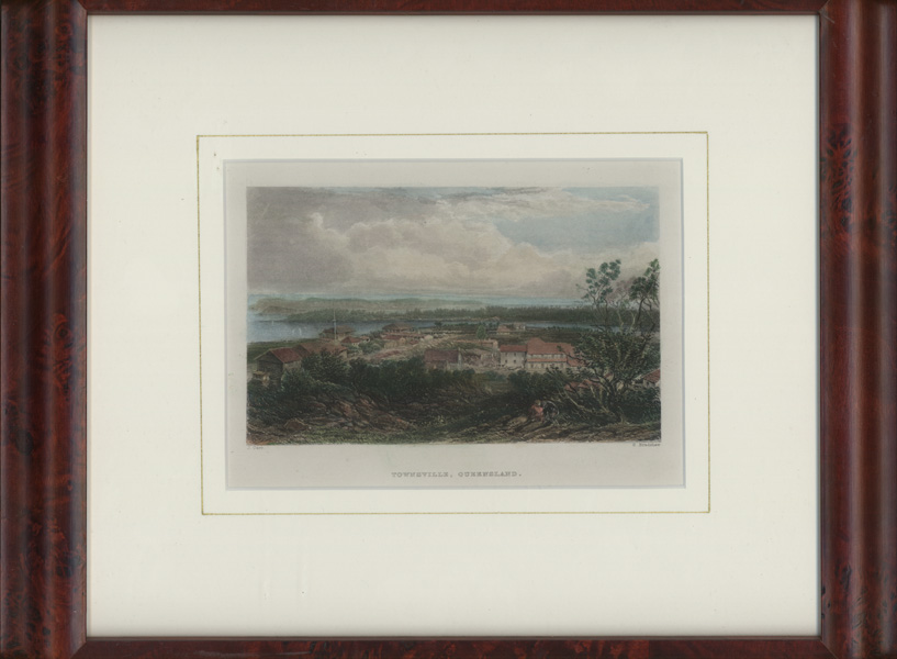 Conservation-framed hand-coloured engraving of Townsville c1874.