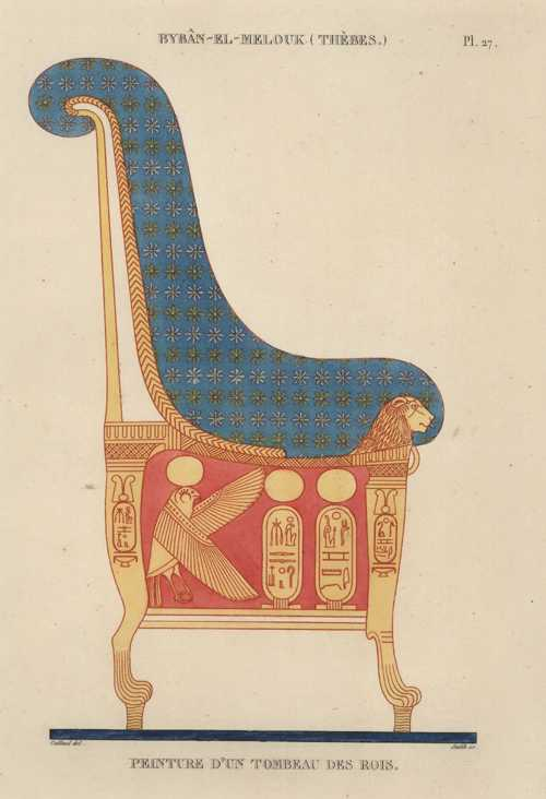 Egypt. Byban-El-Melouk (Thebes) Pharaoh's Tomb Chair. Cailliaud c1860.