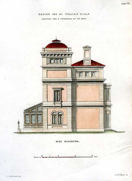 Italian Villa Side Elevation Architectural engraving, c1850