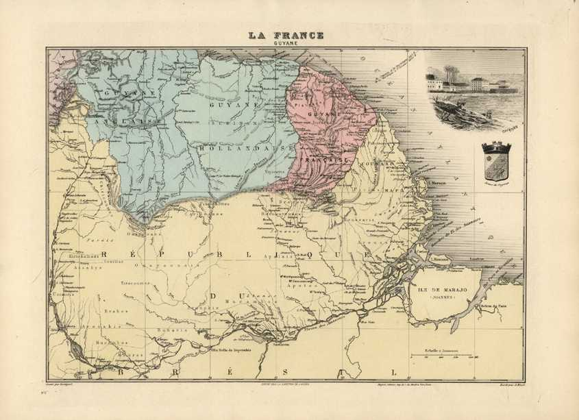 Guyana antique map. English, Dutch & French Guyane. Vuillemin c1875.