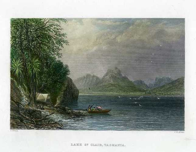 Lake St. Clair, Tasmania antique print. Skinner Prout 1874