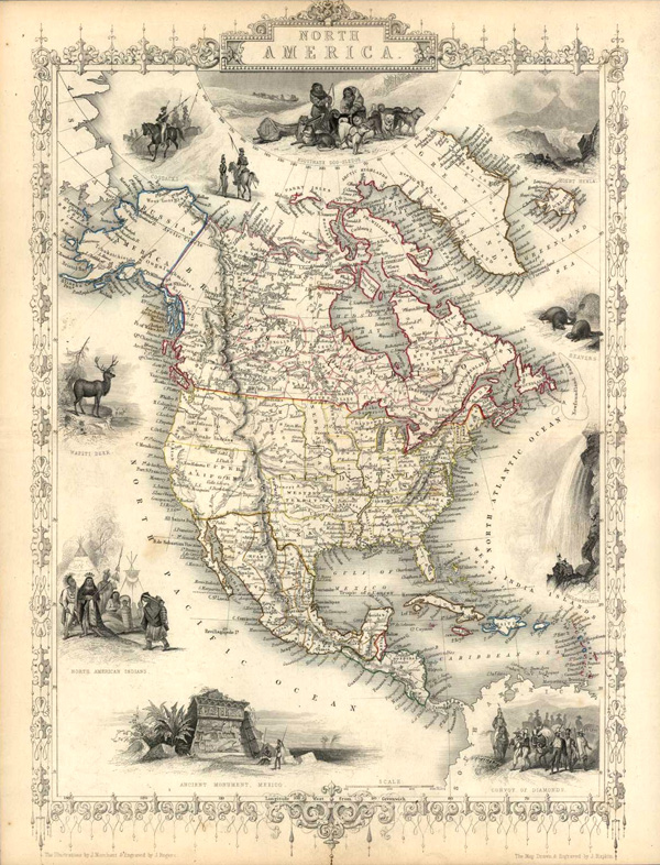 Decorative finely engraved North America antique map. Tallis c1851.