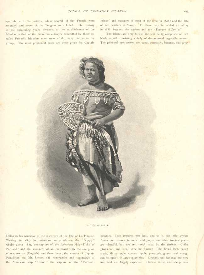 Tonga, or Friendly Islands historic illustrated page. Tongan Belle c1888