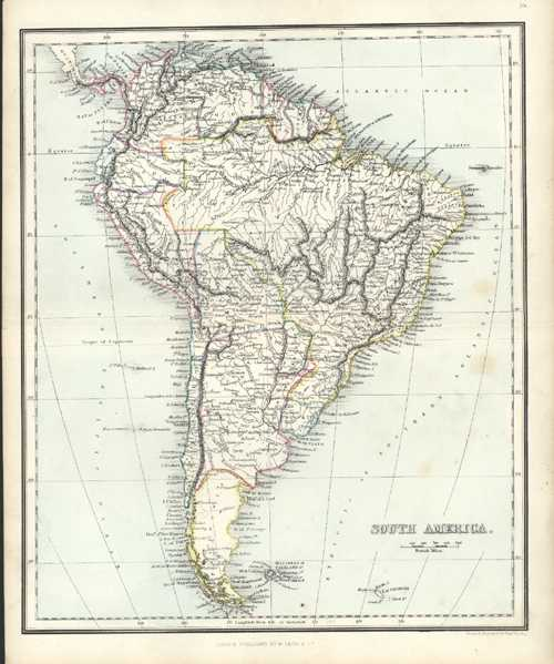 South America Antique Map by Alex Findlay & W. Tegg c1853