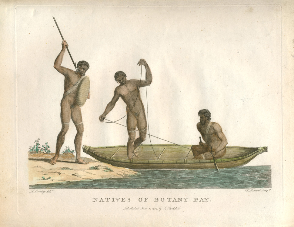 Natives of Botany Bay in dug-out canoe spear-fishing c1798.