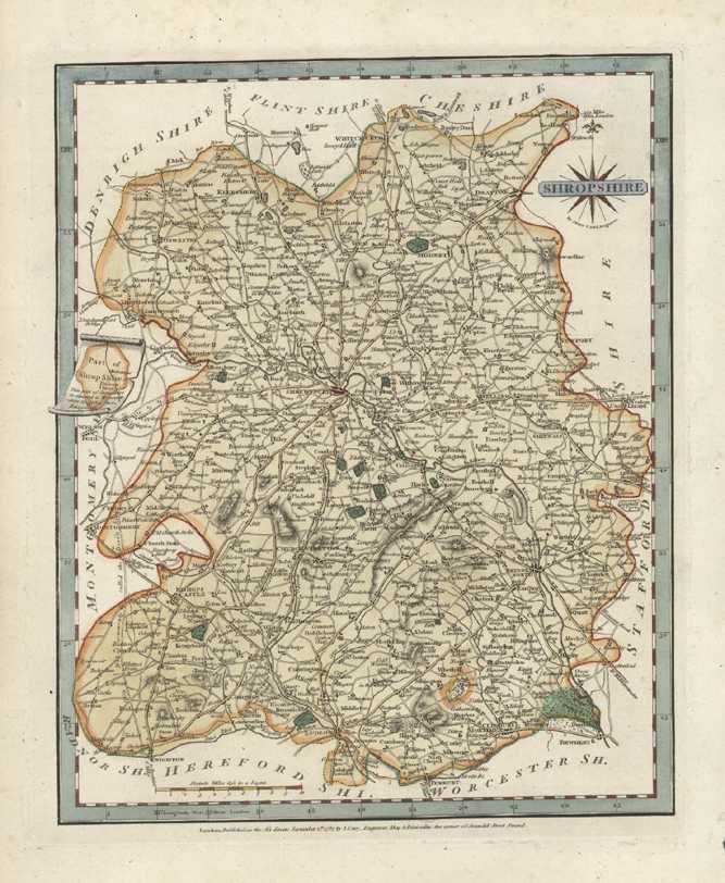 Shropshire Antique Map. J. Cary County Map of Shropshire c1787