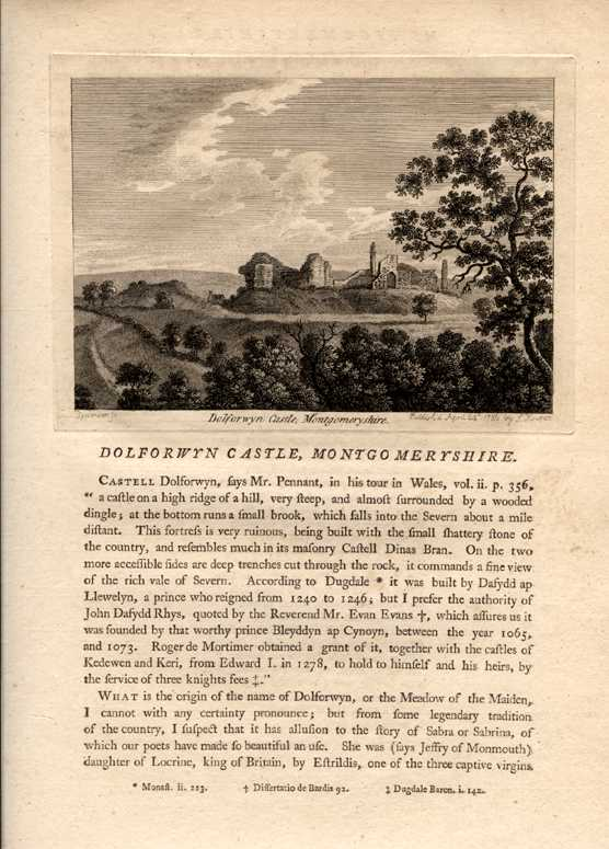 Grose engraving of Dolforwyn Castle, Montgomeryshire & history. c1785