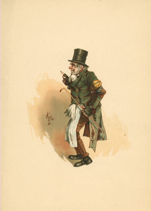 The Chimes, Trotty Veck. Charles Dickens caricature c1890.