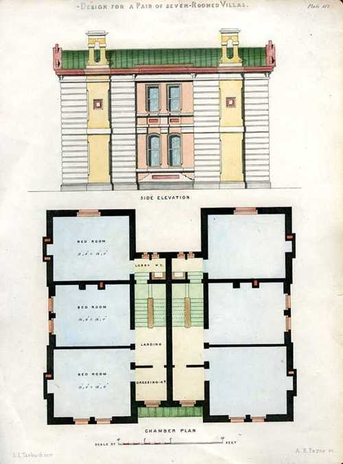 English Architectural Engraving. Pair of Seven-Roomed Villas c1850
