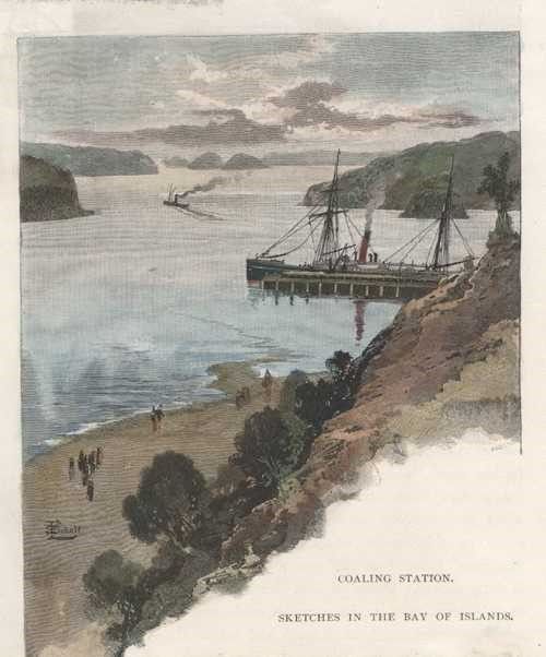 Coaling Station. Sketches in the Bay of Islands c1888.