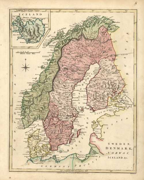 Sweden, Denmark, Norway, Iceland &c, Antique Map. Wilkinson c1794