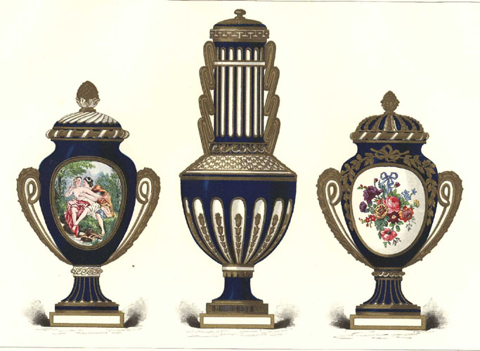 Sevres Porcelain Vases Lithograph by Gillot. Antique print c1890.