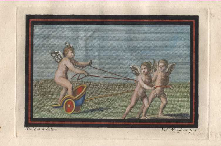 Cherubs pulling Chariot driven by Cherub. Putti Ercolano engraving c1757