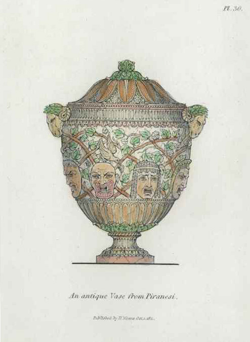 An antique vase from Piranesi, engraved by Henry Moses c1811.