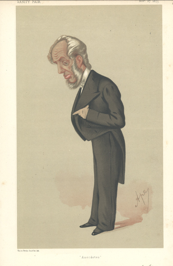 """Anecdotes"" Vanity Fair caricature of Mr. Abraham Hayward, Q.C. c1875"