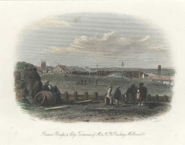 Prince's Bridge & City Terminus of Railway. STGill Melbourne c1857