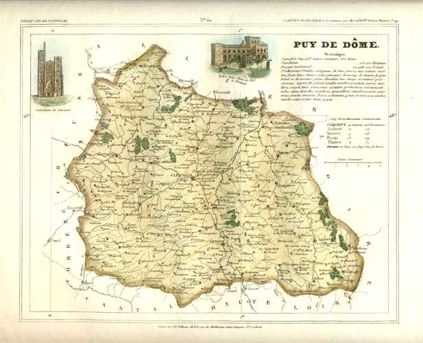 Puy-de-Dome Department in Auvergne, France Antique Map. Monin c1833