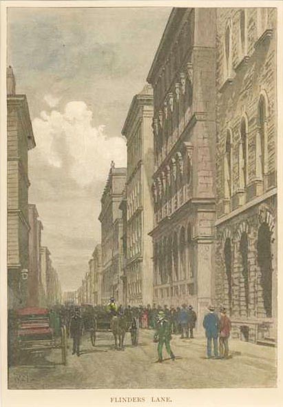 Flinders Lane, Melbourne. Original engraving after W.C.Fitler, c1886.