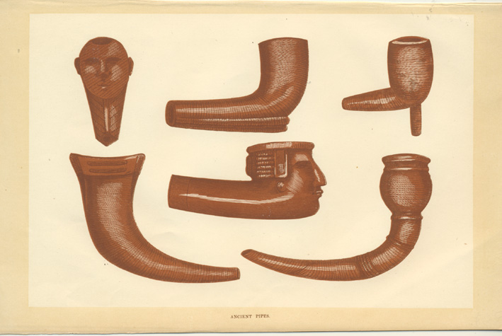 Ancient Pipes antique print. American Indian artifacts c1860.