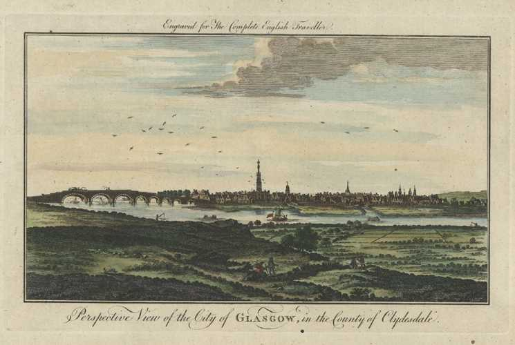 City of Glasgow in County of Clydesdale, Scotland. Spencer engraving c1773