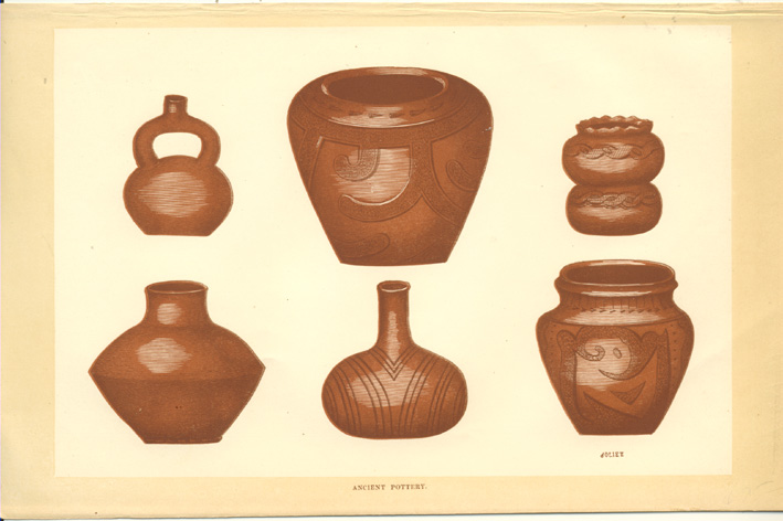 Rare Americana antique print of Ancient Pottery c1860.