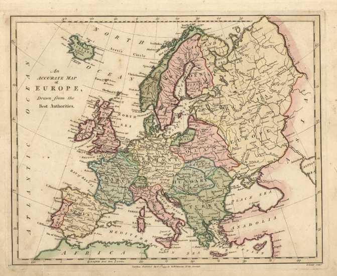 Fine Antique Map of Europe by Robert Wilkinson c1794