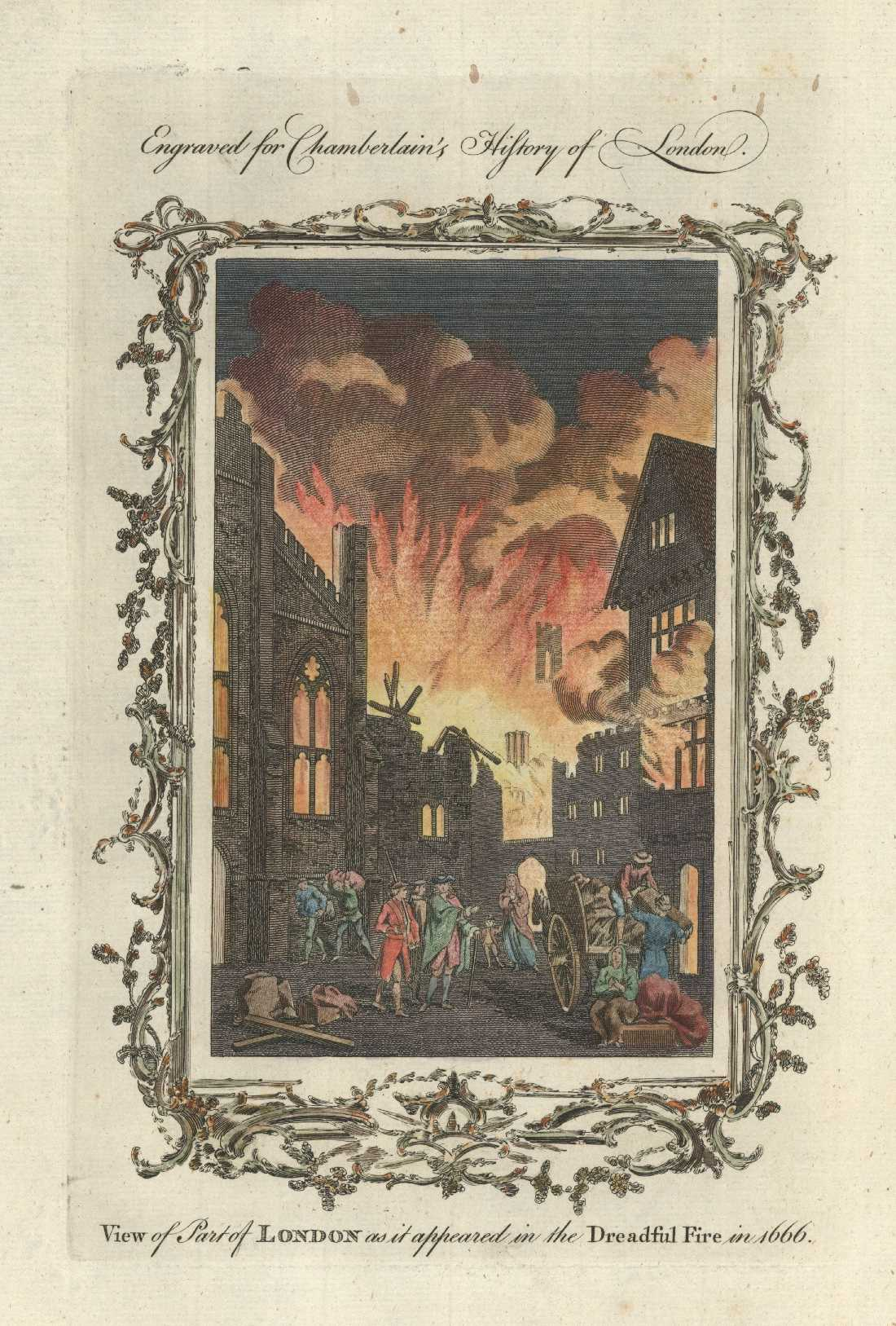 London Fire. The dreadful Fire in 1666. Chamberlain c1773.