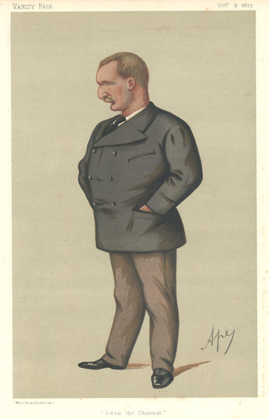 "Matthew Webb ""Swam the Channel"". Vanity Fair caricature, c1875"