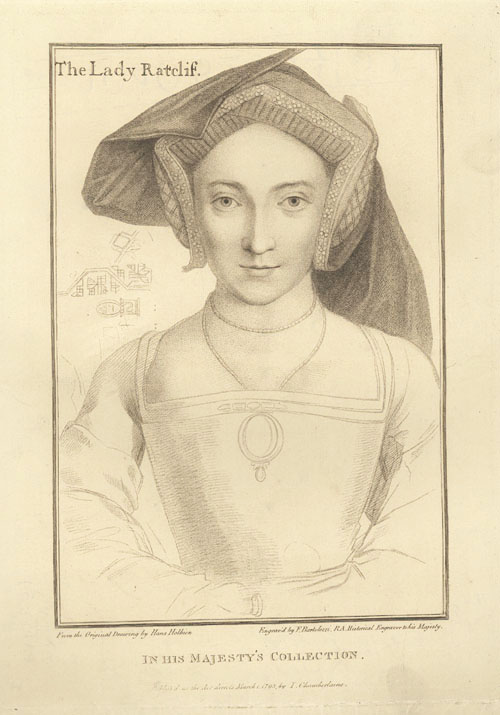 Holbein portrait engraved by Bartolozzi. The Lady Ratcliffe. c1793