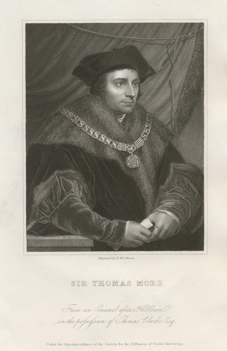 Sir Thomas More. Engraved by R. Woodman c1840.