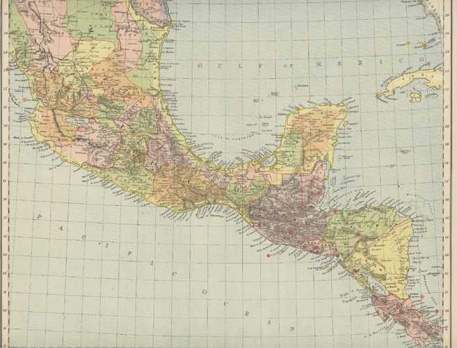 Mexico, South & Central America. Antique Map c1887