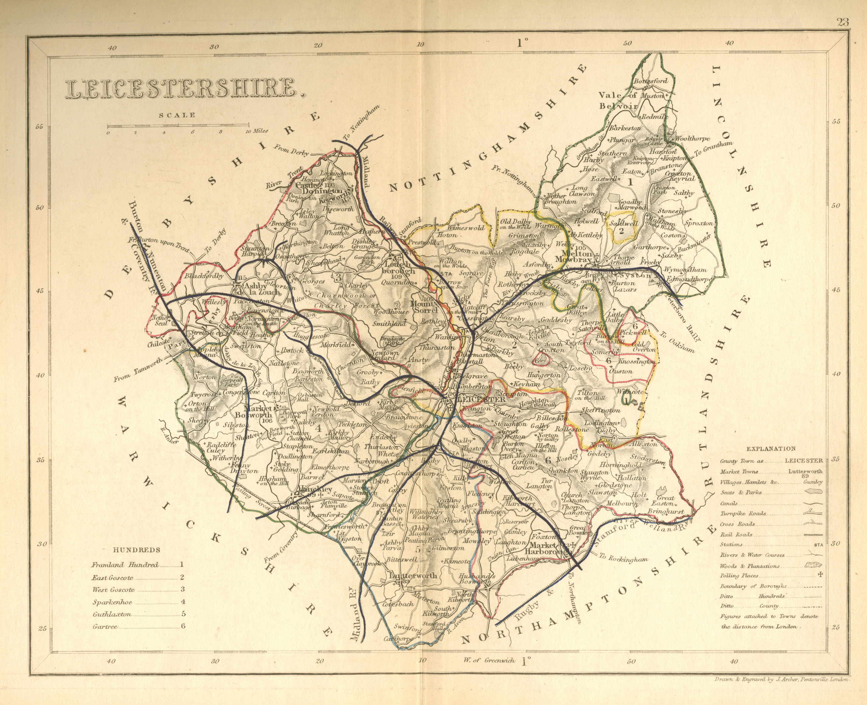 Leicestershire antique county map by Joshua Archer c1854.