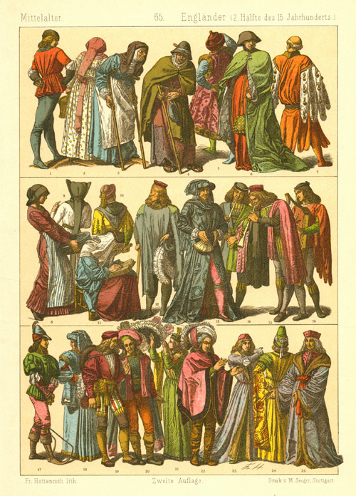 English Fashion. Middle Ages, late 15th century. Hottenroth c1886.