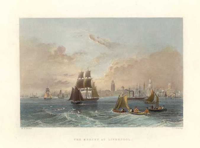 Bartlett Engraving of The Mersey at Liverpool, England. Finden, c1844