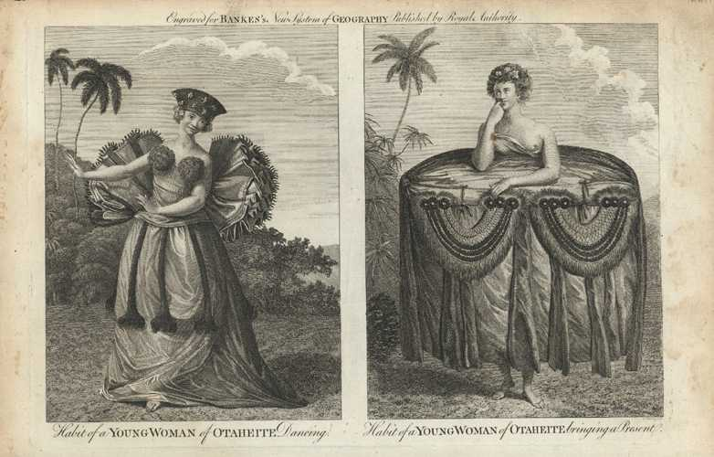 Tahiti. A Young Woman of Otaheite Dancing, Bringing Present. Bankes c1790