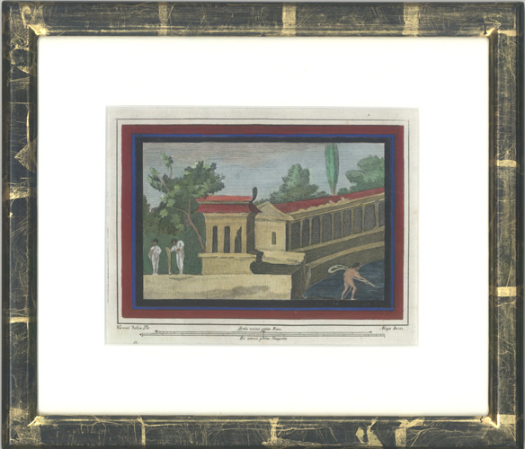 Framed 18thC engraving of excavated Herculaneum fresco c1757.