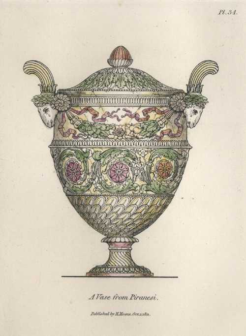 Piranesi Vase antique print re-engraved by Henry Moses c1811