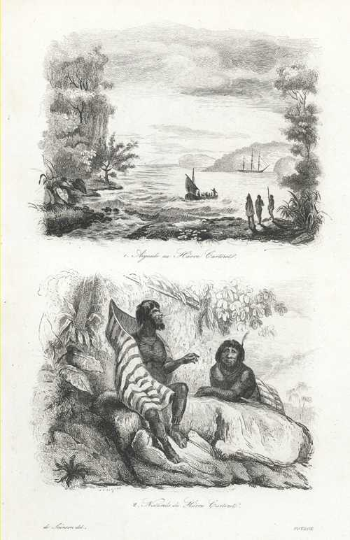 PNG. Natives, Aiguade, Havre Carteret, New Ireland. D'Urville c1834