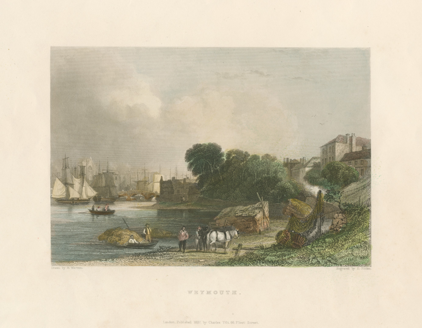 Weymouth, Dorset antique print engraved by Edward Finden c1842.