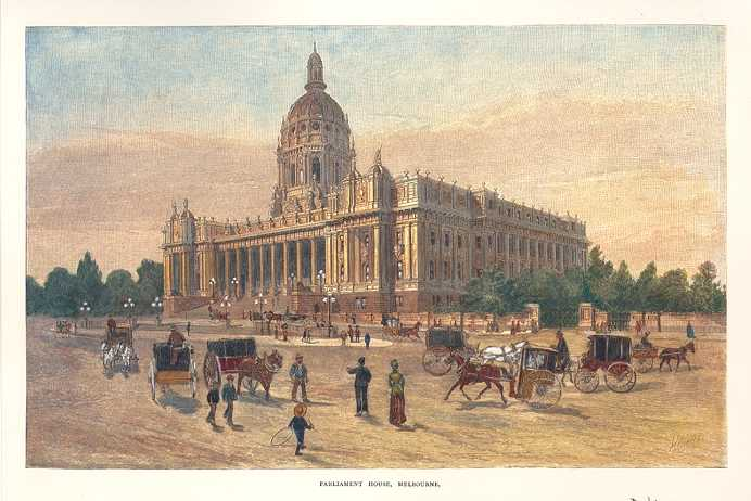 Parliament House, Melbourne. Print of Grand Government Building in Victoria c1886