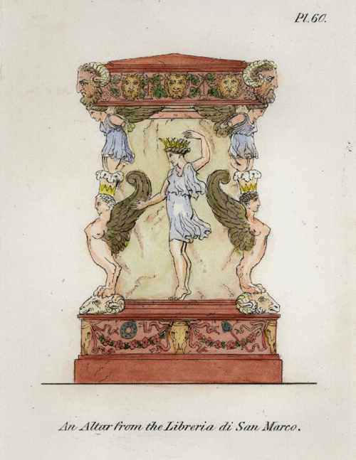 Henry Moses classical antiquities engraving c1811. Altar from Library of St. Marks Basilica. Pl. 60